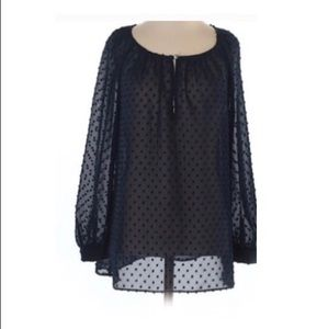 j.crew navy polka dot sheer blouse